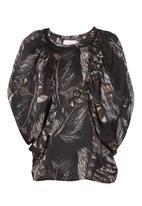 edit - Feather-print Batwing Top Black