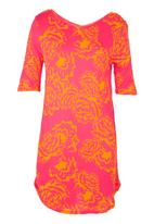 Next - Floral V-neck tunic mid Pink