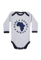 Home Grown Africa - Babygro With Logo Pale Grey