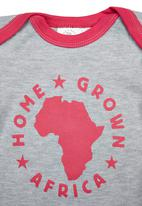 Home Grown Africa - Babygrow With Pink Logo Pale Grey