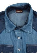 Sam & Seb - 2-Tone Shirt Mid Blue