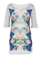 Next - Floral graphic tunic in mid Blue