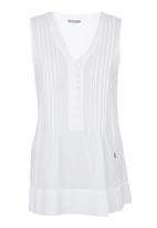 JUST CRUIZIN - V-neck Pintuck Front Top White