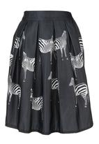 STYLE REPUBLIC - Zebra-printed Hoop Skirt Black