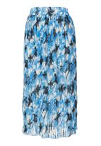 STYLE REPUBLIC - Palm-print Pleated Midi Skirt Cobalt