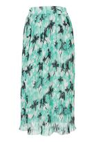 STYLE REPUBLIC - Palm-printed Pleated Midi Skirt Mid Blue