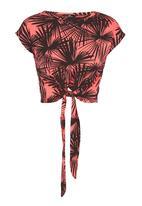 STYLE REPUBLIC - Printed Top With Tie Detail Orange