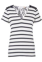 edit - Lace-Inset Striped Tee Blue/White