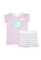 Home Grown Africa - Girls PJ Set With Elephant Print Pale Purple