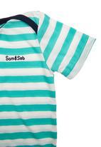 Sam & Seb - Mint and White Striped Babygro