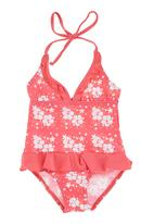 Lu-May - Floral Print 1-piece Costume Dark Pink