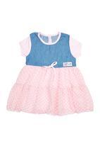 Precioux - Denim And Pink Spot Dress