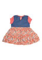 Precioux - Denim And Orange Print Dress