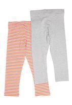 Precioux - 2-Pack Stripe And Plain Leggings Multi-Colour
