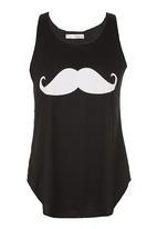 London Hub - Moustache Tank Top Black/White