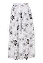 LAZULI - Floral Midi Skirt White