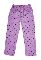 Twin Clothing. - Heart Print Pants Dark Purple