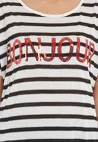 SASS - Bonjour striped T-shirt  Black/White