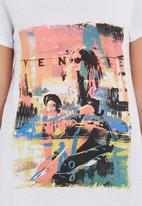 SASS - Venice beach printed t-shirt  White
