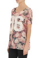 SASS - Floral longer-length t-shirt  Multi-colour