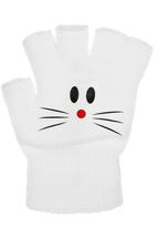 FUNKY FISH - Gloves with cat face detail  White