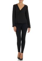 STYLE REPUBLIC - Crossover Lace Blouse Black