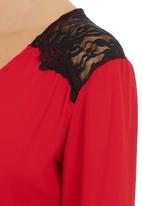 STYLE REPUBLIC - Crossover Lace Blouse Red