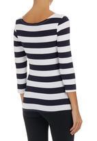 Suzanne Betro - Stripe Scoop-neck T-shirt Multi-colour