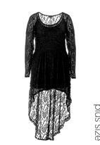 City Chic - Long-sleeve lace tunic Black