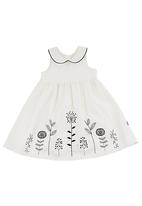 Phoebe & Floyd - Peter pan collared embroidered pinny Black/White