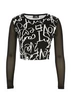 STYLE REPUBLIC - Printed crop top with mesh sleeves Black/White