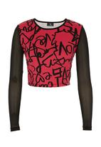 STYLE REPUBLIC - Printed crop top with mesh sleeves Mid Pink