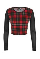 STYLE REPUBLIC - Printed crop top with mesh sleeves Red