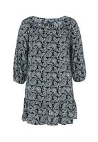 STYLE REPUBLIC - Paisley-printed drop waist tunic Navy