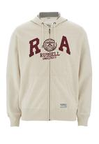 Russell Athletic - Applique zip-through hoodie Camel/Tan