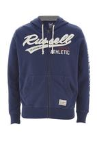 Russell Athletic - Zip-through Applique Hoodie Mid Blue