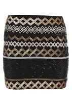 Traffic - Sequin aztec mini skirt Multi-colour