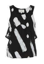SELFI - Paint-splattered top Black/White