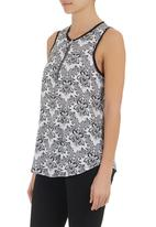 edge - Ethnic-print cami with zip detail Black/Blue