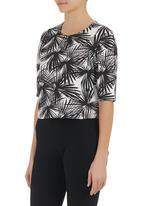 STYLE REPUBLIC - Printed scuba top Black/White