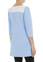 STYLE REPUBLIC - Tunic with pleather inset Blue (pale blue)