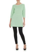 STYLE REPUBLIC - Quilted tunic with pleather inset Green