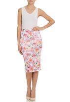 STYLE REPUBLIC - Floral-print pencil skirt Multi-colour