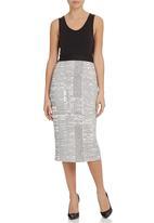 Gert-Johan Coetzee - News-Print Pencil Skirt Black/White
