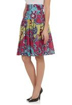 AfroDizzy - African-Print Fit And Flair Skirt Multi-Colour