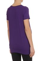 Cherry Melon - Pleated short-sleeved top  Purple