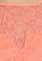 STYLE REPUBLIC - Lace Crop Top Coral