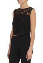 STYLE REPUBLIC - Lace Crop Top Black