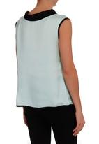 Ilan - Pleated Top With Bow Turquoise