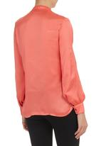 Mushi - Long-Sleeved Shirt With Frill Detail Coral
